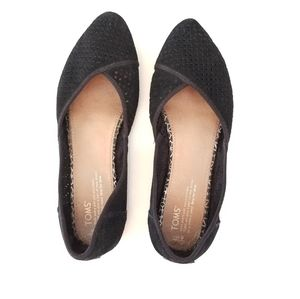 Tom's Jutti Perforated Suede Pointed Toe Flat